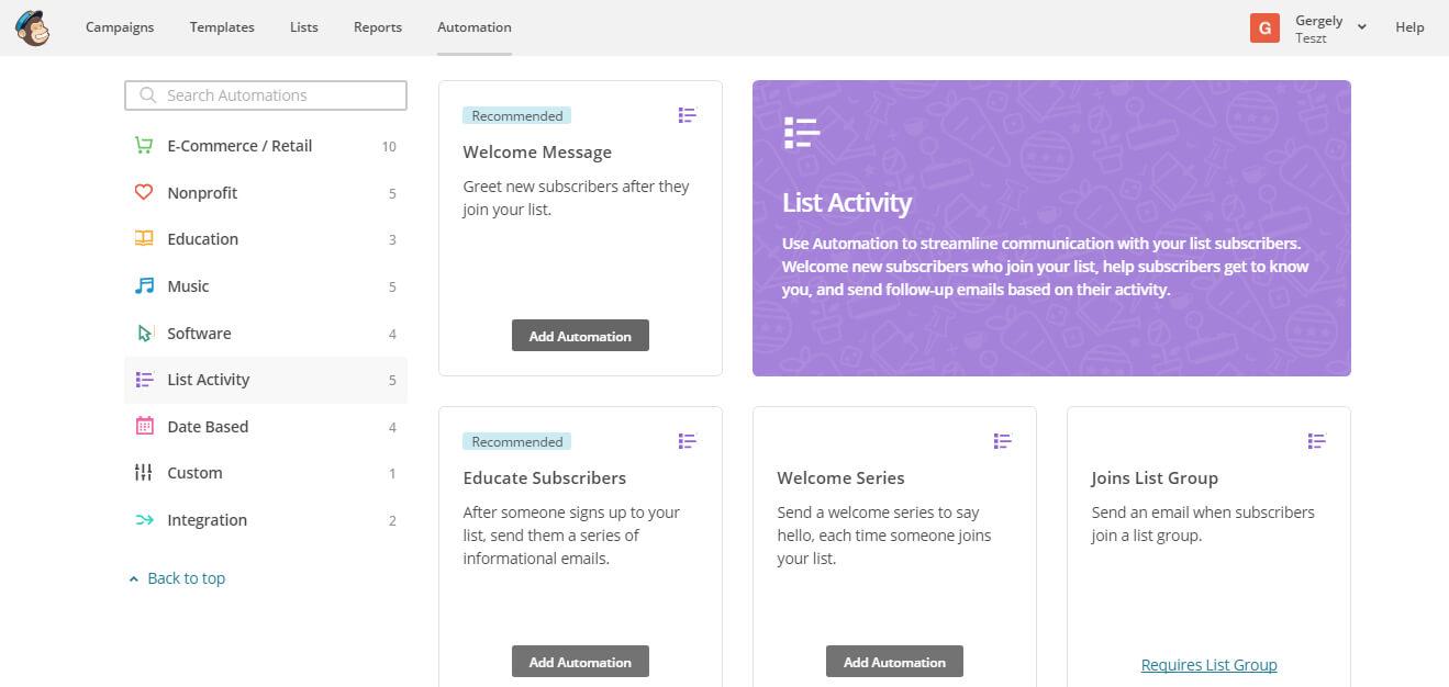 MailChimp Alapok V. – Automatizált levélkiküldés beállítása